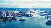 Aerial view of Sydney Harbor in Australia