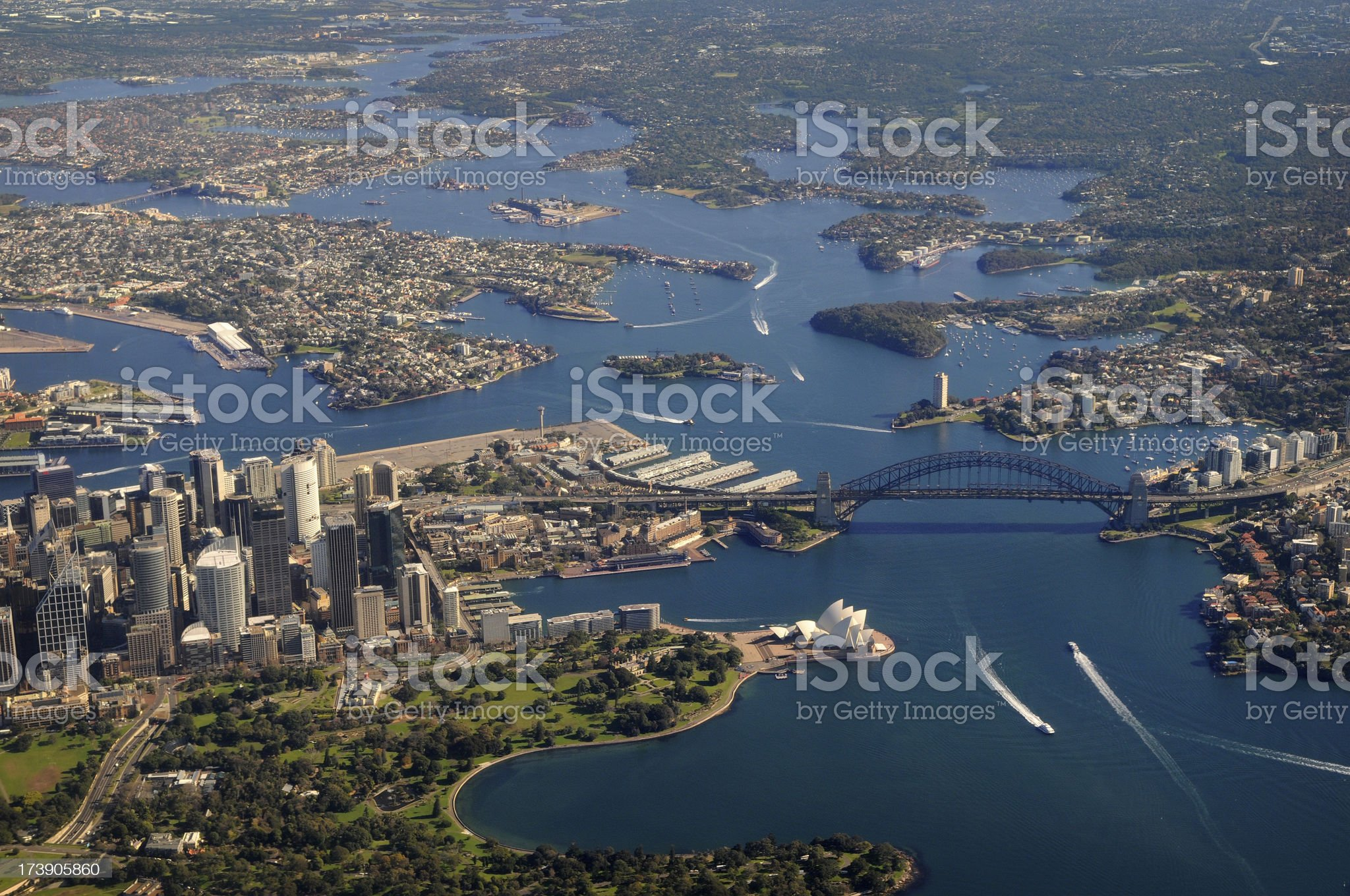 Aerial view of Sydney harbour bridge and opera house royalty-free stock photo