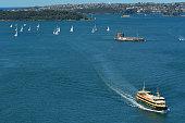 Aerial view of Sydney Harbour in Sydney Australia