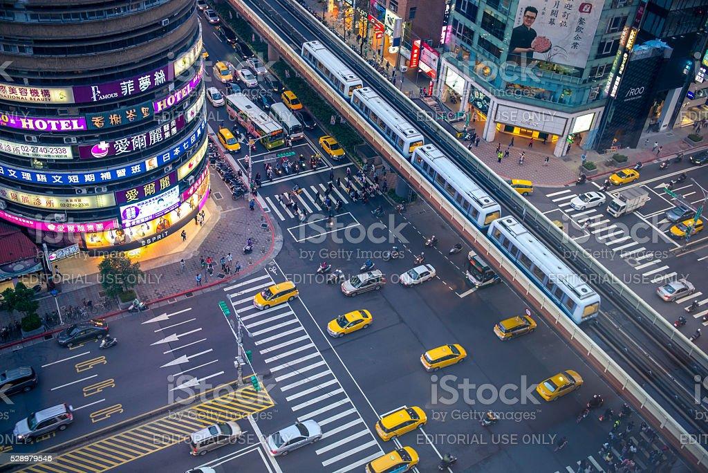 aerial view of taipei city at night stock photo