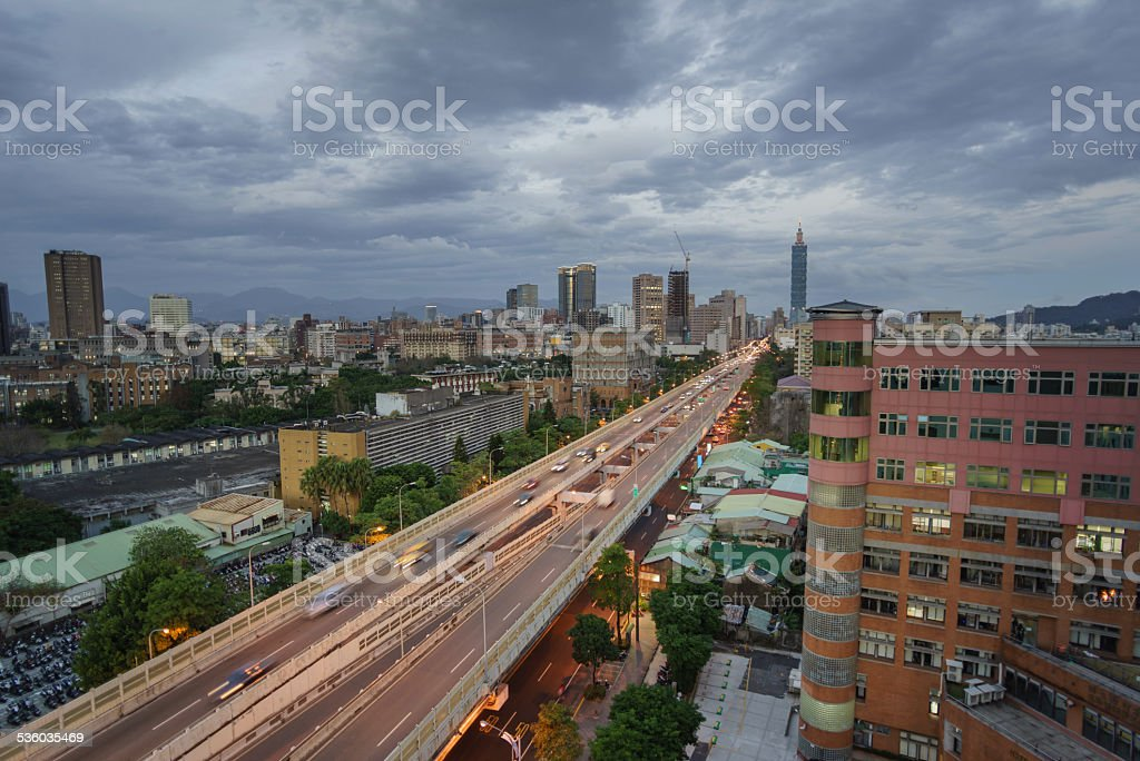 Aerial View of Taipei City Twilight stock photo
