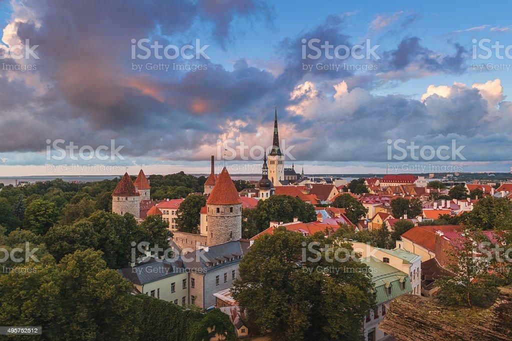 Aerial view of Tallinn, Estonia stock photo