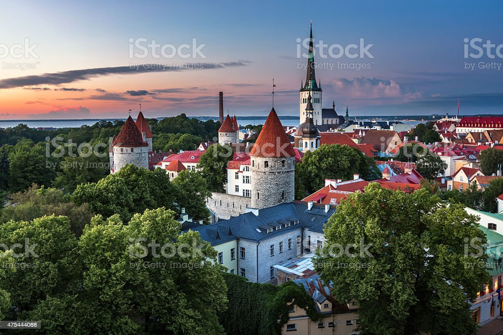 Aerial View of Tallinn Old Town from Toompea Hill stock photo