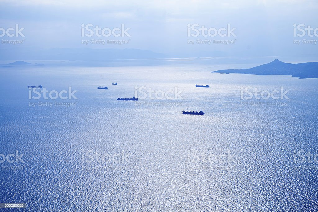 Aerial view of tankers and ships stock photo