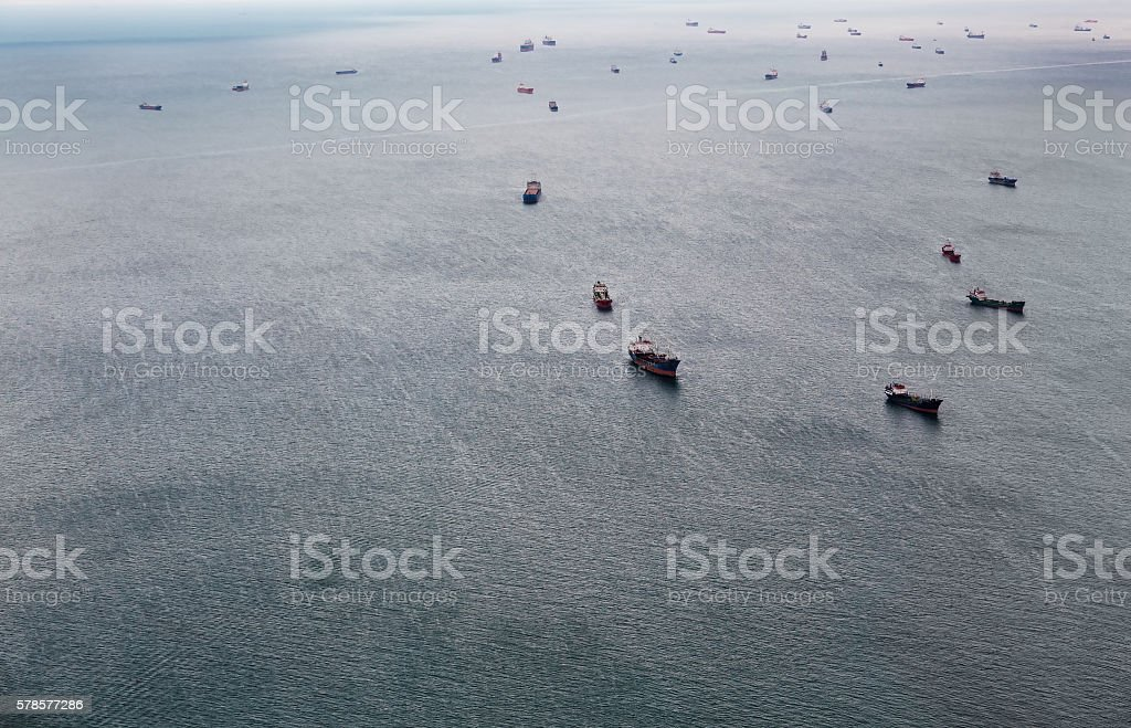 Aerial view of tankers ship on open sea stock photo
