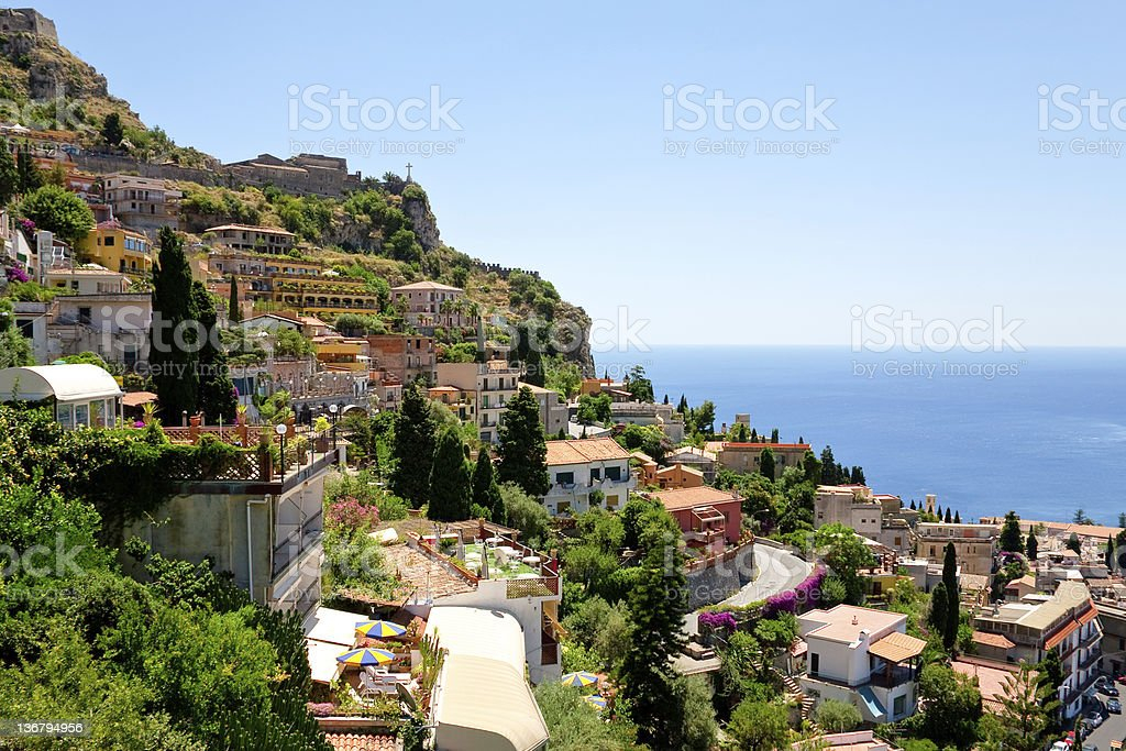 Aerial view of Taormina in Castelmola, Sicily stock photo