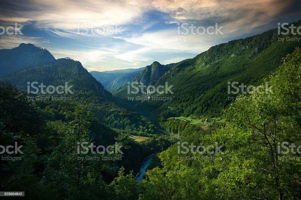 Aerial view of Tara river gorge. stock photo