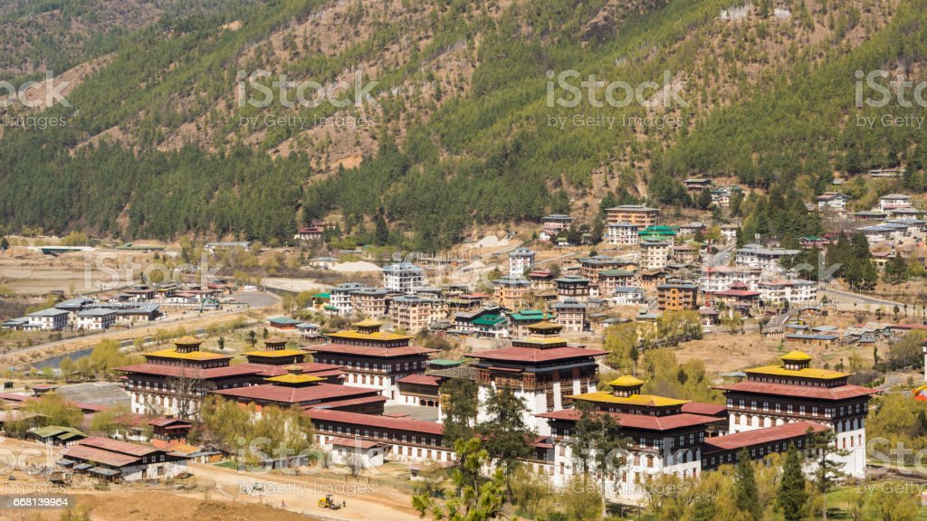 Aerial view of Tashichho Dzong stock photo