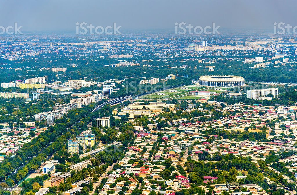 Aerial view of Tashkent in Uzbekistan stock photo