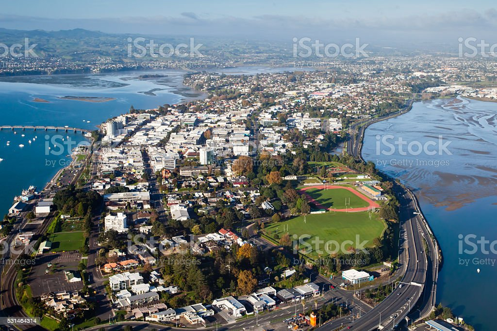 Aerial view of Tauranga City and Harbour, New Zealand stock photo