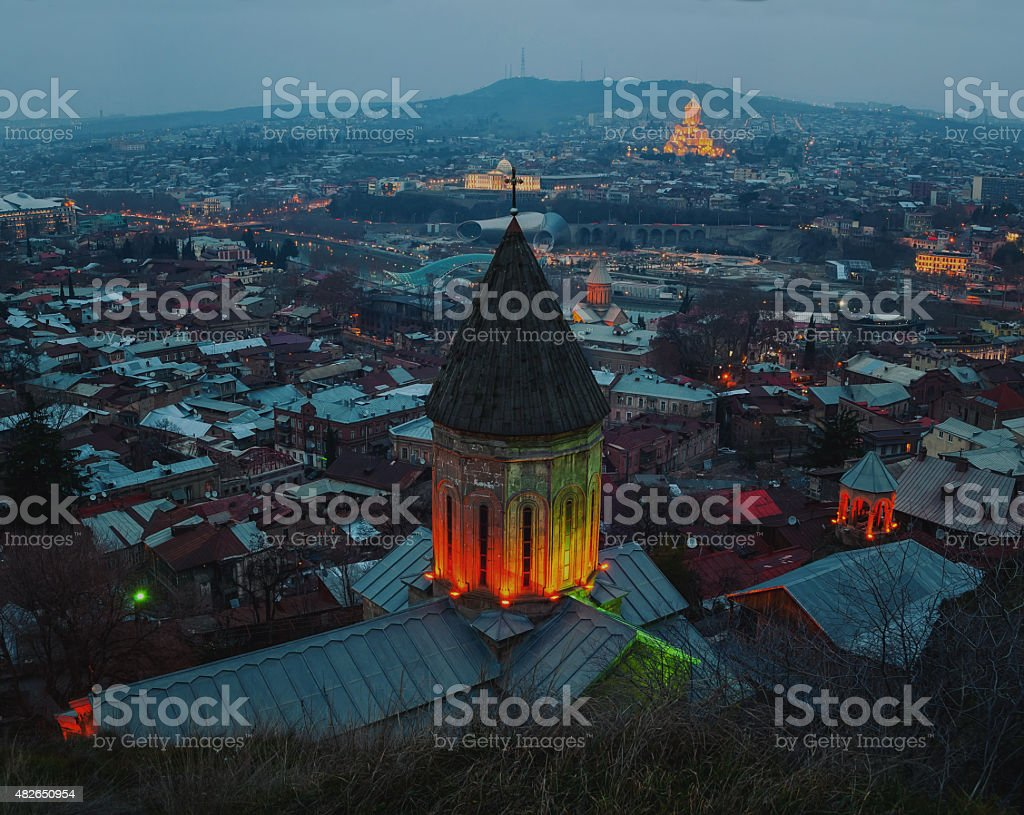 Aerial view of Tbilisi, Georgia city center at night stock photo
