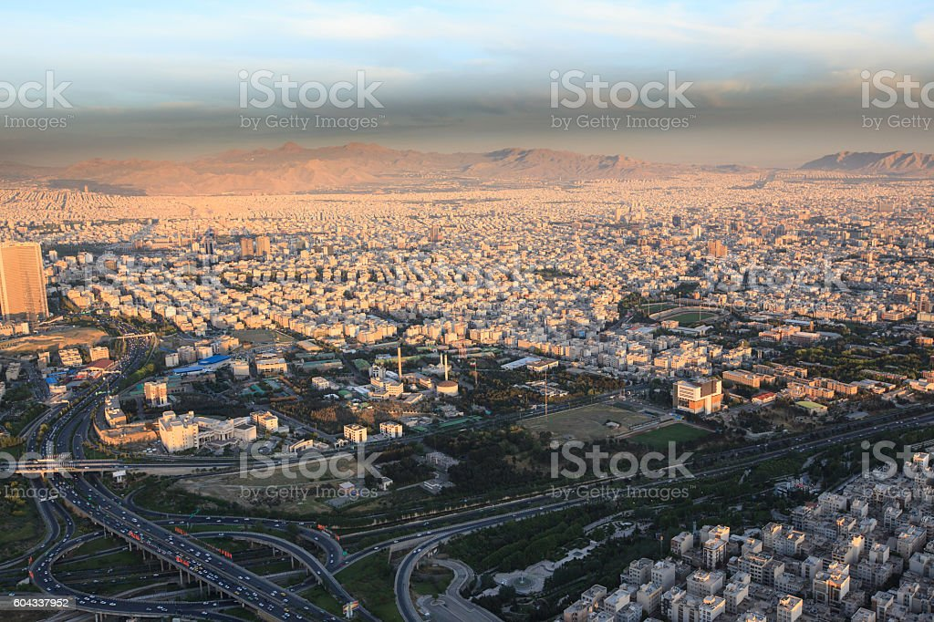 Aerial view of Tehran city from Milad tower, Iran stock photo