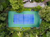 Aerial view of tennis court