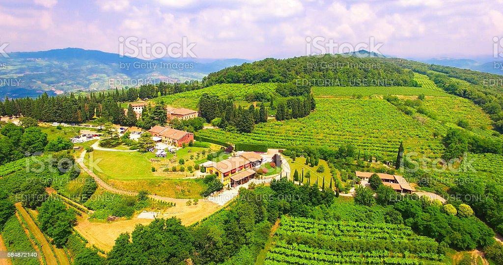 Aerial view of Tenuta Coffele, old farmhouse in the hills. stock photo