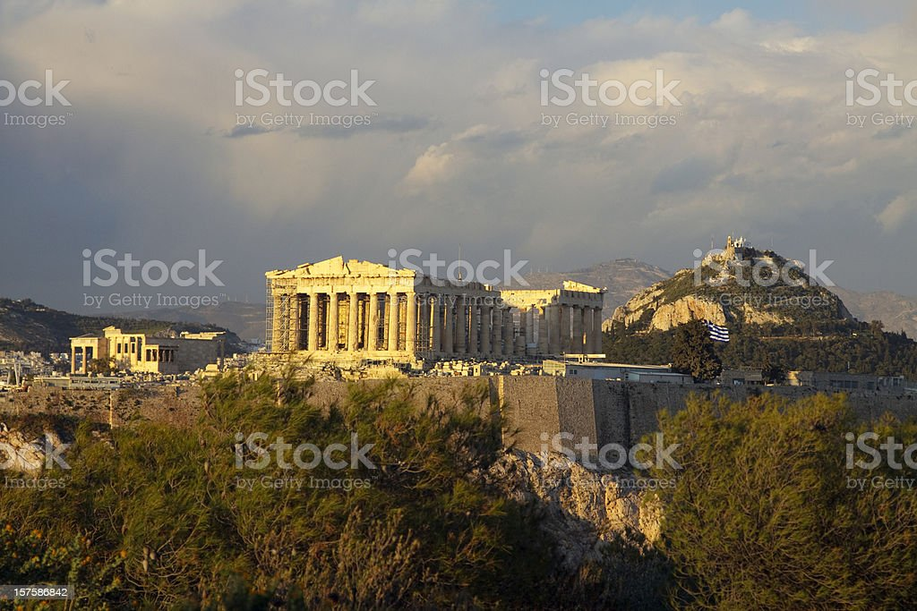 Aerial view of the Acropolis in Athens royalty-free stock photo