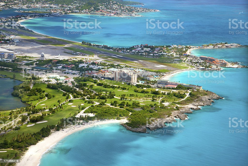 aerial view of the airport in Dutch St.Martin stock photo