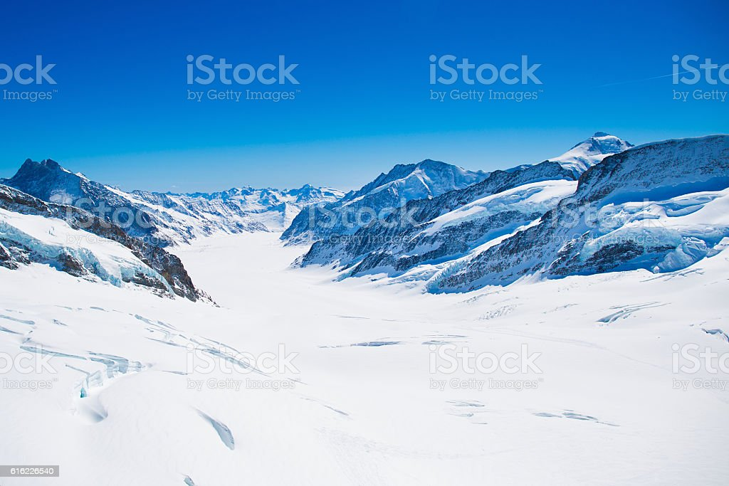 Aerial view of the Alps mountains in Switzerland stock photo