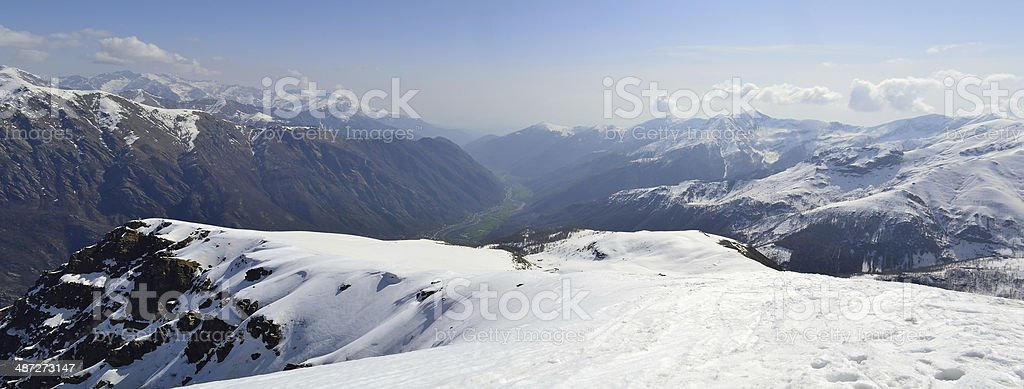 Aerial view of the Alps royalty-free stock photo