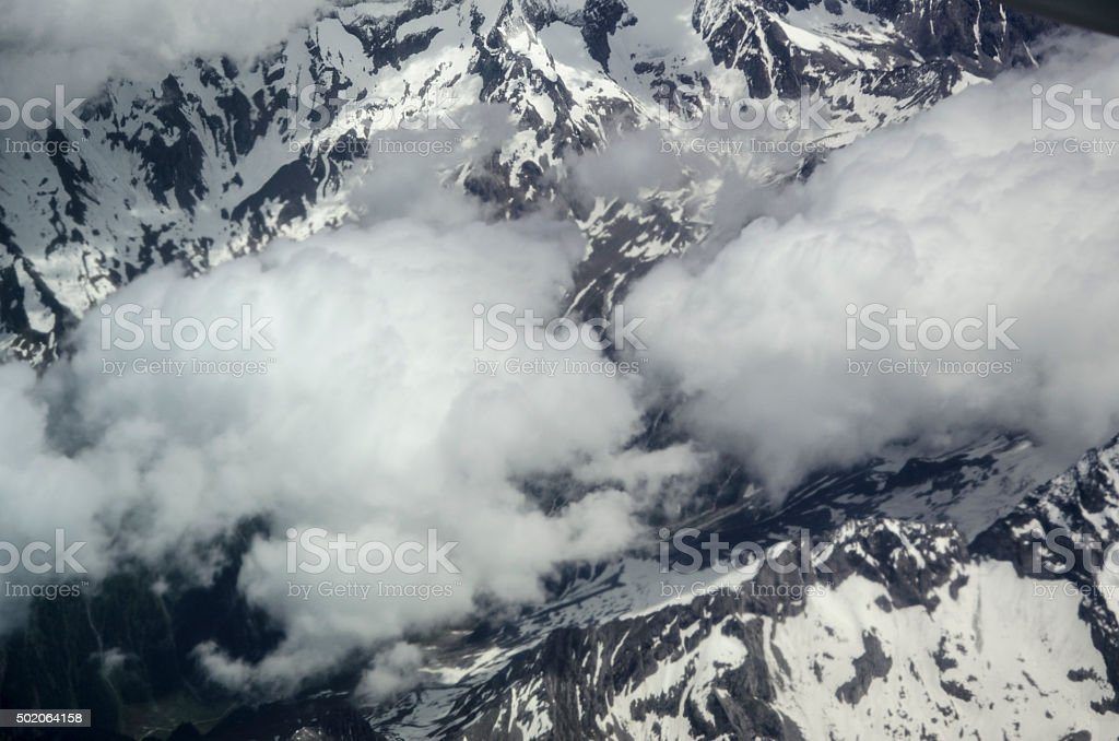 Aerial view of the Alps stock photo