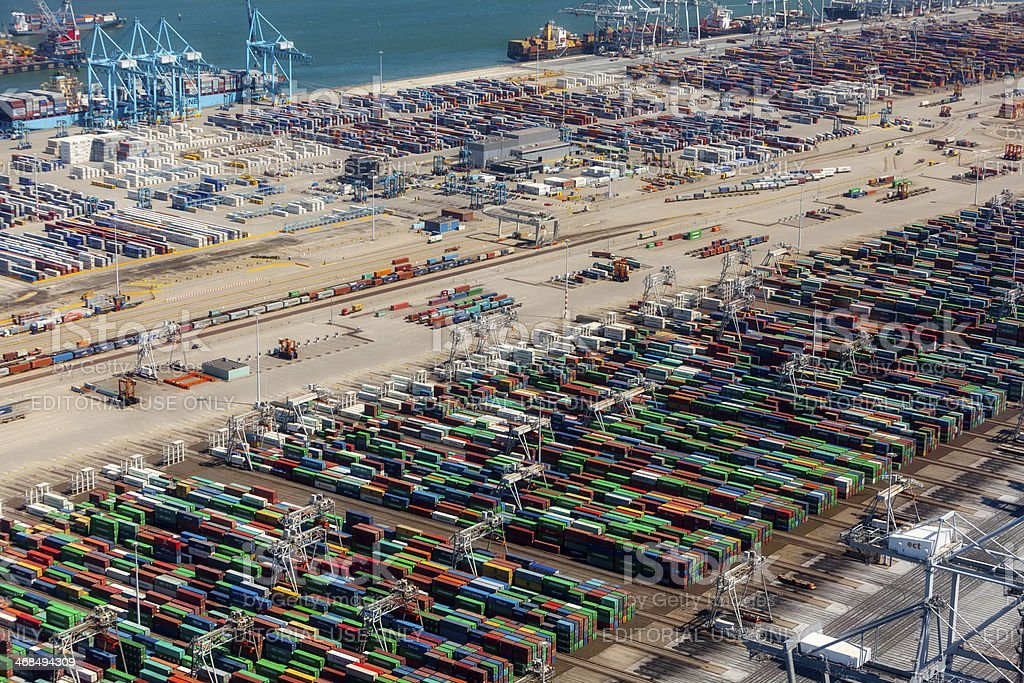 Aerial view of the APM container terminal in rotterdam, Netherla stock photo