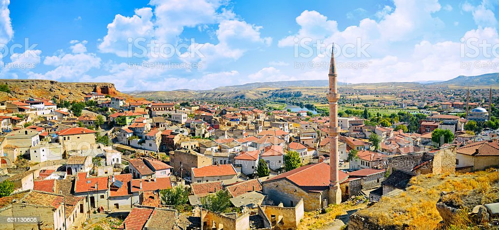 Aerial view of the Avanos cave city in Cappadocia, stock photo