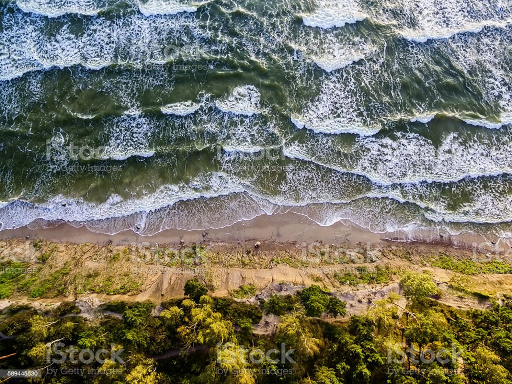 Aerial view of the Baltic Sea coast in Lithuania stock photo