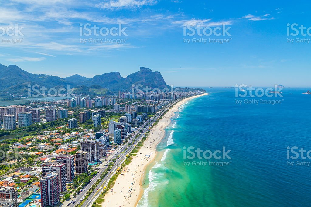 Aerial View of the Barra Beach in Rio de Janeiro stock photo