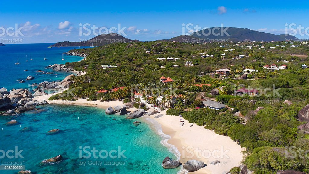 aerial view of the baths, Virgin Gorda, BVI stock photo