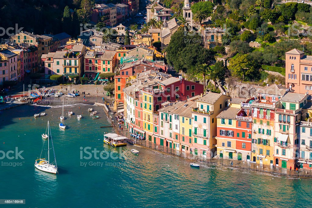 Aerial view of the bay of Portofino stock photo