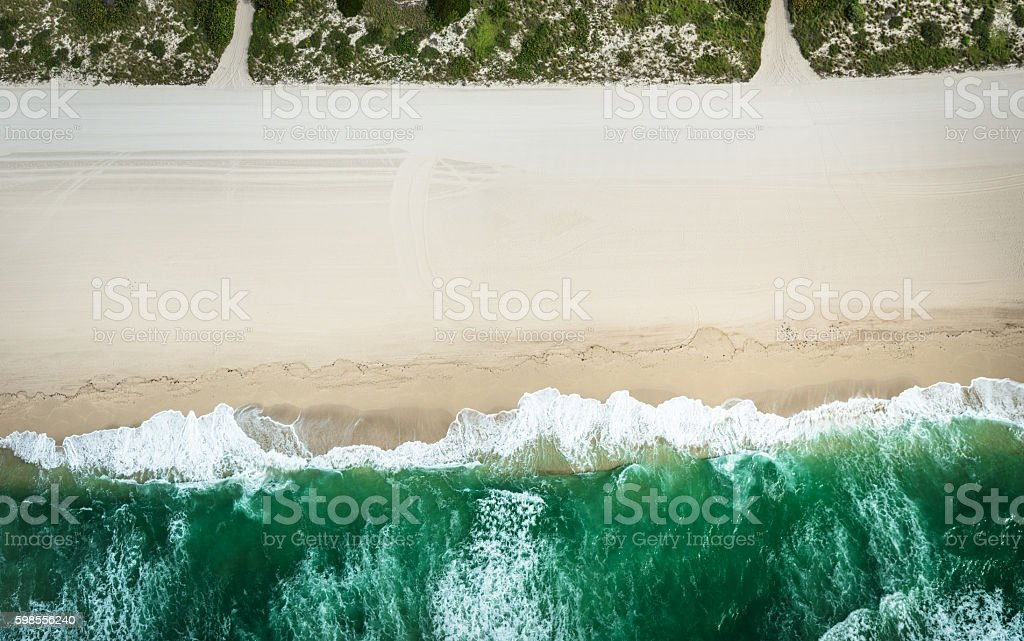 aerial view of the beach in miami stock photo