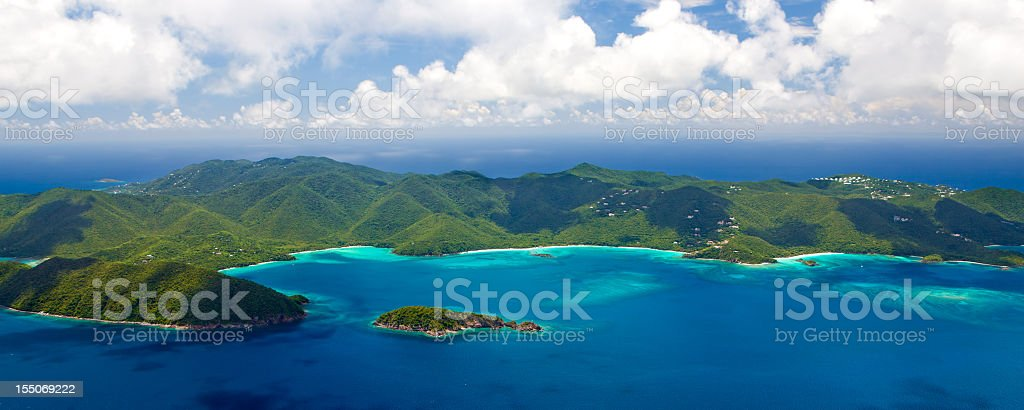 aerial view of the beaches, St. John, US Virgin Islands stock photo
