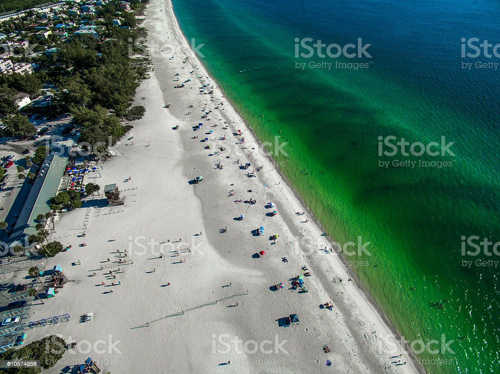 Aerial view of the beautiful beaches in Florida stock photo