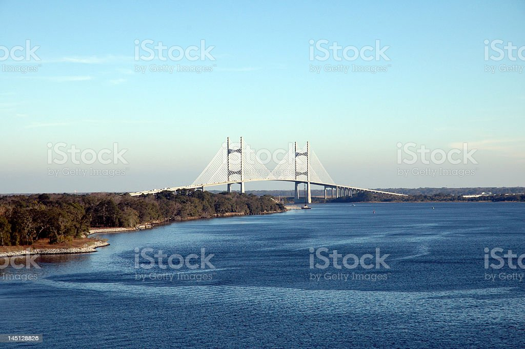 Aerial view of the beautiful blue St Johns River and bridge royalty-free stock photo