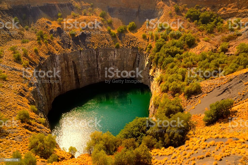 Aerial view of the Big Hole at the Kimberley Diamond Mine stock photo