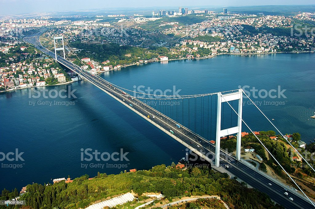aerial View of the Bosphorus Bridge and the strait below stock photo