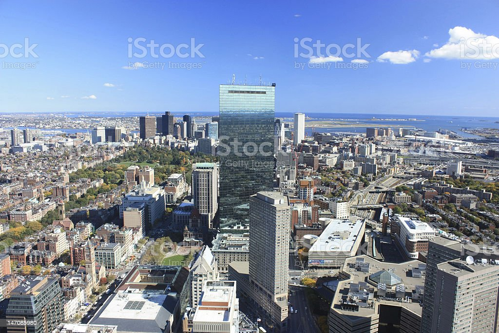 Aerial View of the Boston Skyline stock photo
