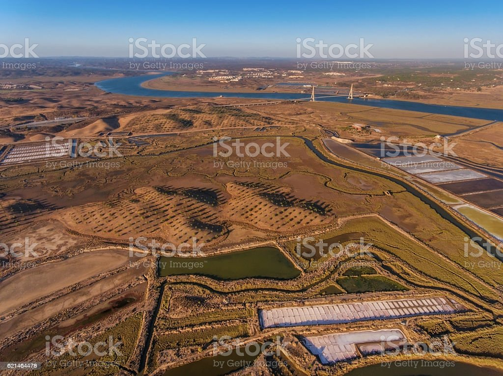 Aerial view of the bridge over the river Guadiana. stock photo