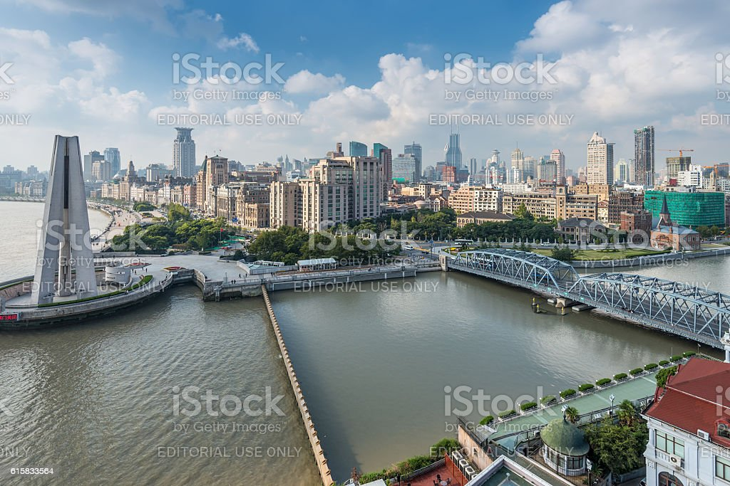 Aerial view of the Bund at Shanghai stock photo