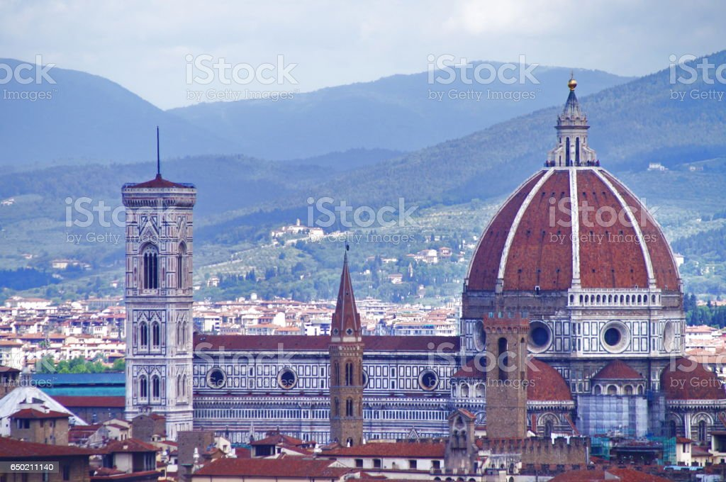 Aerial view of the cathedral of Florence stock photo