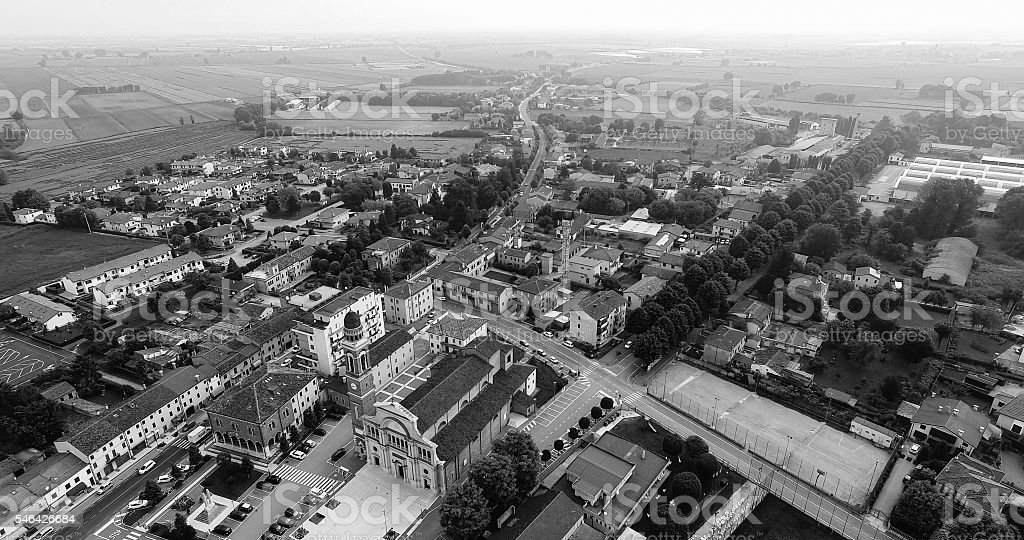 Aerial view of the center of Minerbe, Italy. stock photo