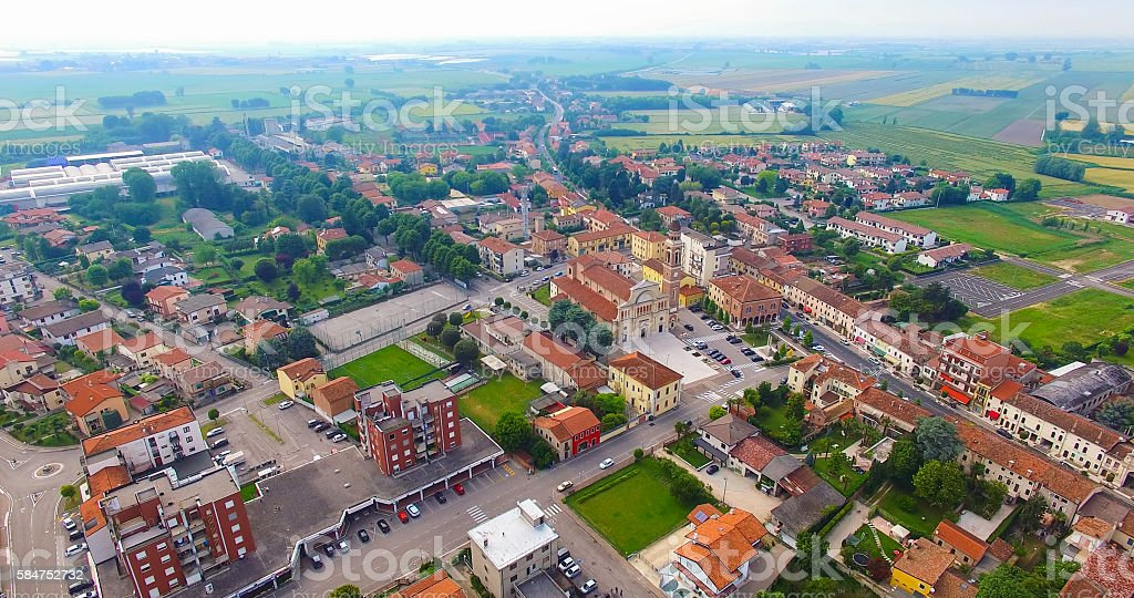 Aerial view of the center of Minerbe. stock photo