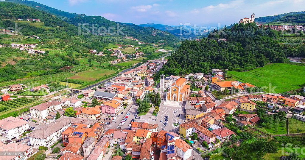 Aerial view of the center of San Giovanni Ilarione. stock photo