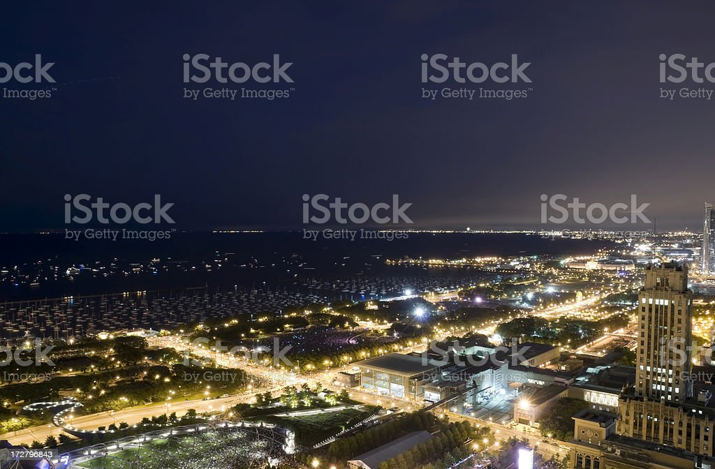 Aerial View of the Chicago Lakefront at Night royalty-free stock photo