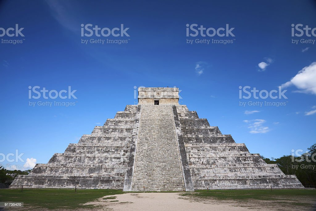 Aerial view of the Chichen Itza pyramid in Mexico stock photo