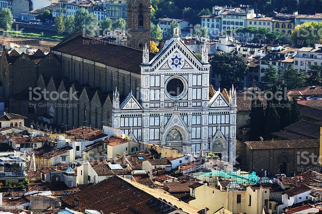Aerial view of the church of Santa Croce stock photo