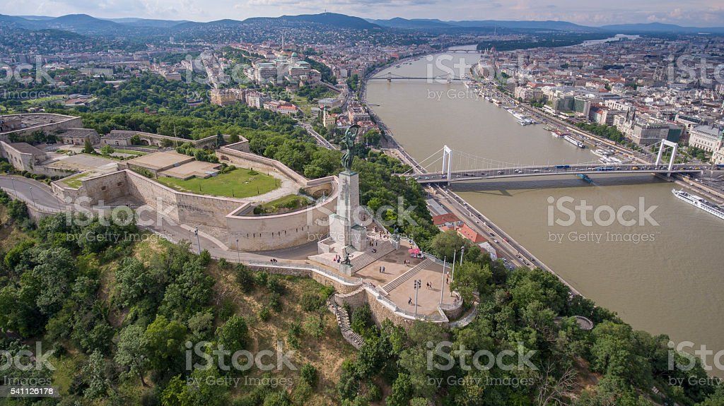 Aerial view of the Citadella fortress and Budapest downtown stock photo