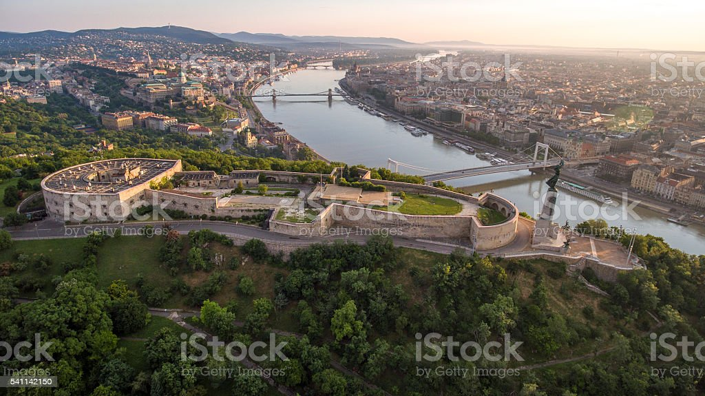 Aerial view of the Citadella fortress overlooking Budapest stock photo