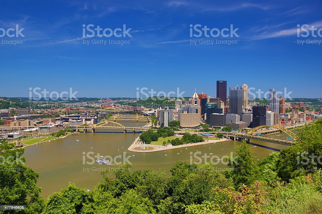 Aerial view of the city and skyline of Pittsburgh, Pennsylvania stock photo