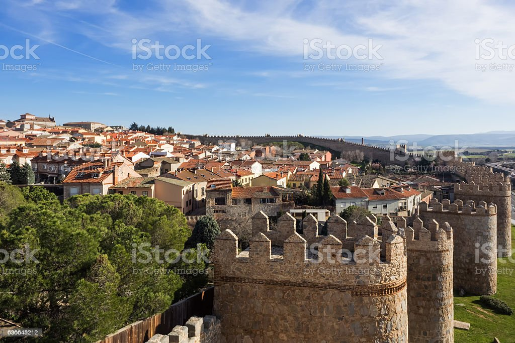 Aerial view of the city Avila with town wall, Spain stock photo