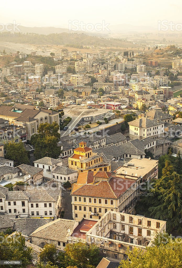 Aerial view of the city Gjirokaster in Albania stock photo